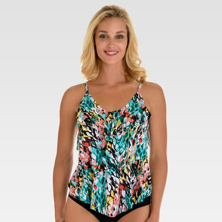 Women's Tiered Tankini - Multi Animal Print XL - Aqua Green, Multi Print