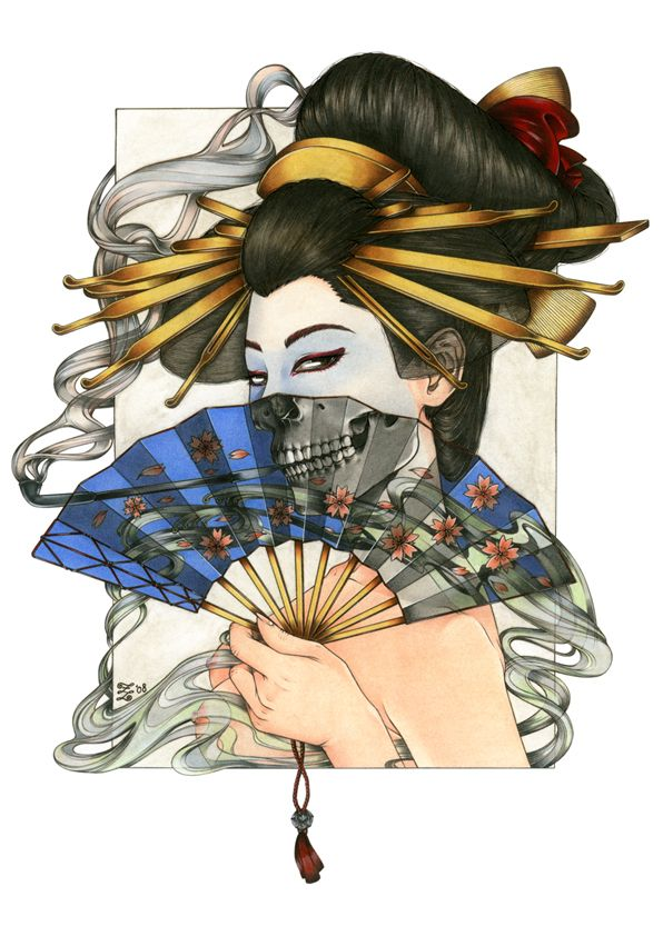 i love this one!!!!    GEISHA WITH FAN by Zoe-Lacchei.deviantart.com on @deviantART