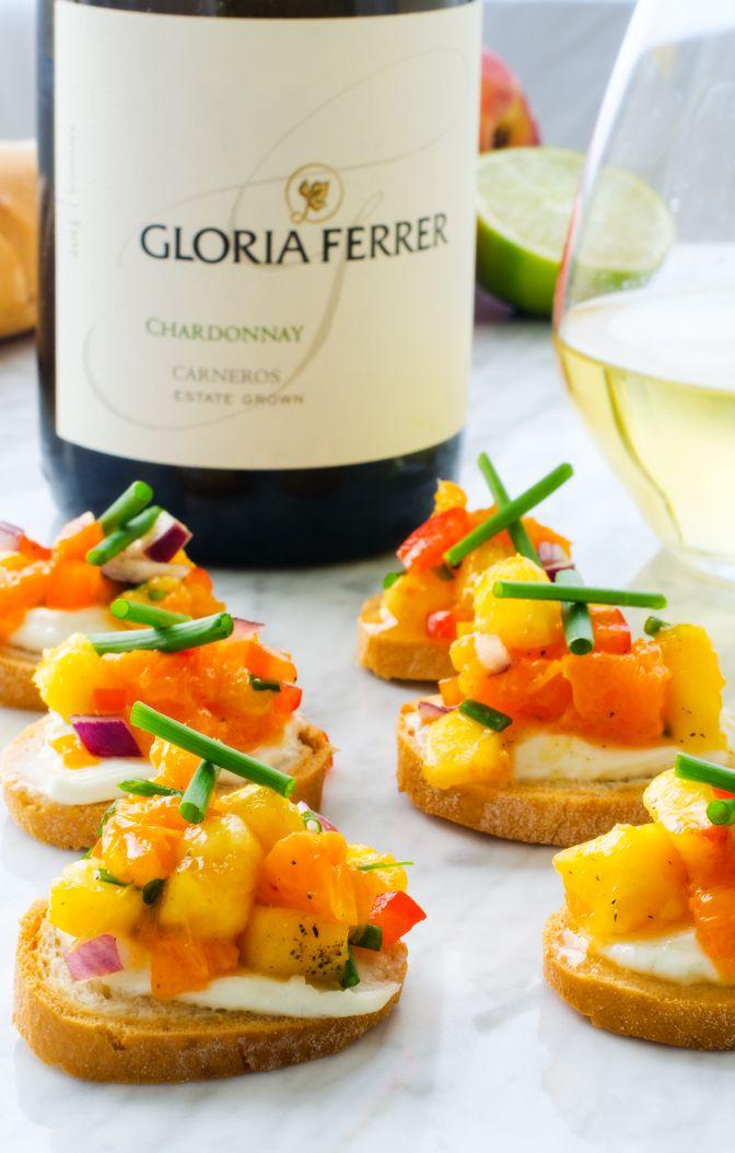 Goat Cheese Crostini with Orange Peach Salsa + Chardonnay Wine Pairing
