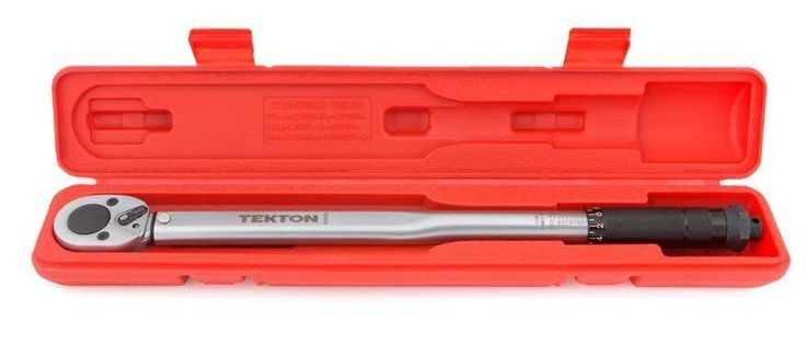 Click Torque Wrench 1/2 Inch Drive Chrome Steel TEKTON 25 To 250 Foot Pound Case #fireskygifts