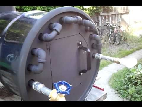 Wood fire hot water heater. - YouTube