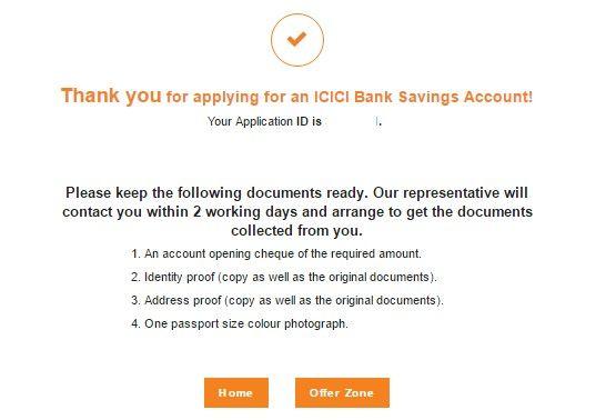 applying for an icici bank saving account