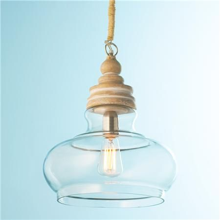 Pickled Wood and Clear Glass Pendant with Rope Cord - Shades of Light