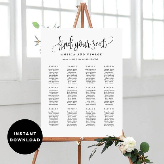 7 Sizes Wedding Seating Chart Template Editable Wedding Table