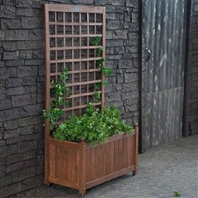Wood Planter Box on Wheels with Grid-style Trellis