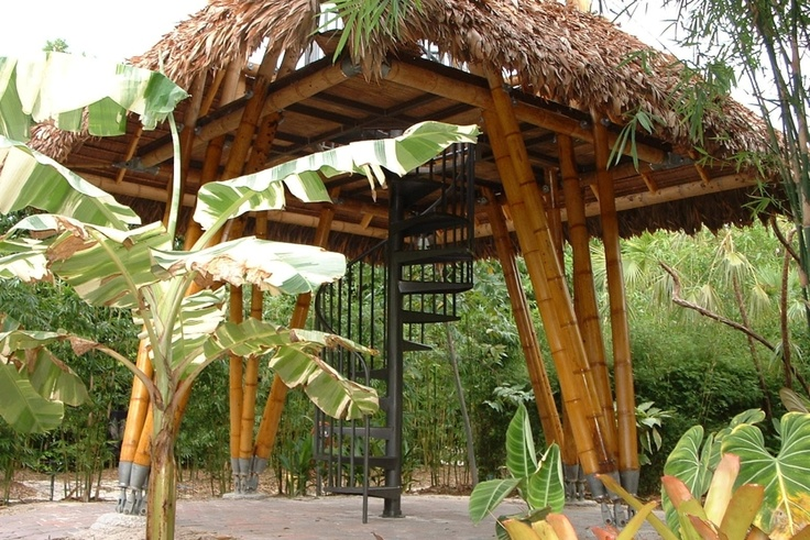 Guaduatech Bamboo Architecture. Bamboo pagoda. Metal stair