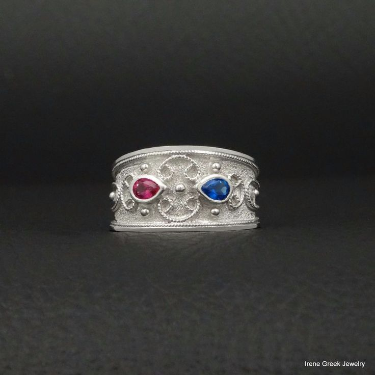RUBY SAPPHIRE CZ BYZANTINE STYLE 925 STERLING SILVER GREEK HANDMADE ART RING #IreneGreekJewelry #Band