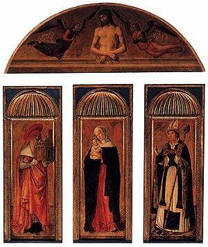 Trittici della carità.  1472. Trittico della Madonna.  I trittici sono opera di Jacopo, Gentile e Giovanni. Furono posti nell'abside della Chiesa  della  Carità.  Il timpano curvilineo è  un ricordo donatelliano.