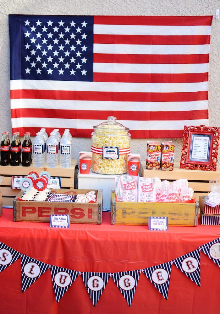 Home-ONE + Baseball themed birthday party with So Many Fabulous Ideas via Kara's Party Ideas | Cake, decor, cupcakes, games and more! KarasP...