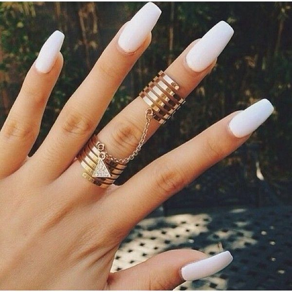 White nails and gold chain rings Nails found on Polyvore