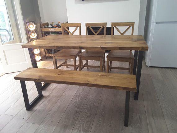 Brinkley Rustic Industrial Reclaimed Wood Dining Table Metal U frame Various Size UK made Brown