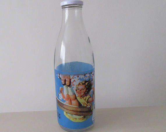 1970 Advertising Milk Bottle. Retro 1970 Bottle. Rice Krispies