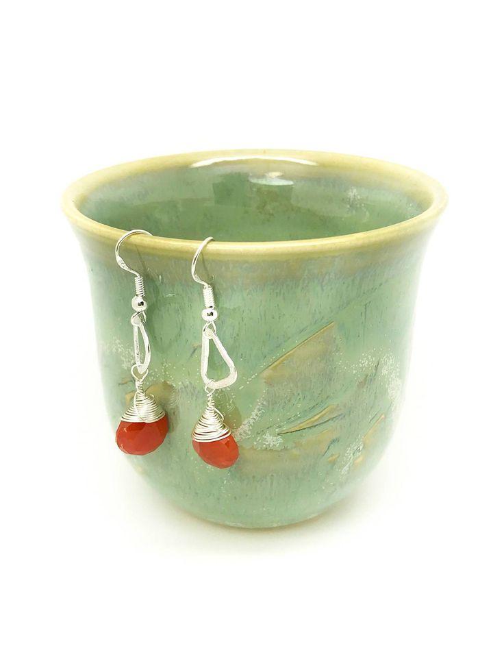 Carnelian earrings, Orange Earrings, Orange carnelian Earrings, Silver orange Earrings, carnelian silver Earrings, Wire Wrap Earrings