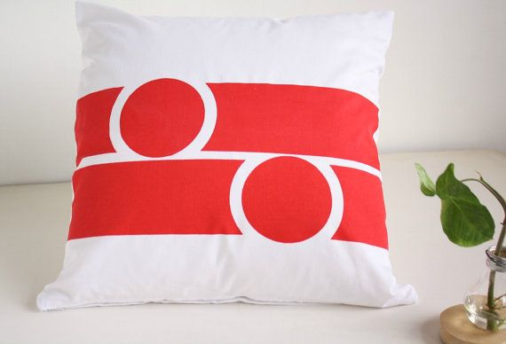 White and red CUSHION COVER  Hand printed decorative pillow cover .Modern throw pillow. Geometrical design pillow