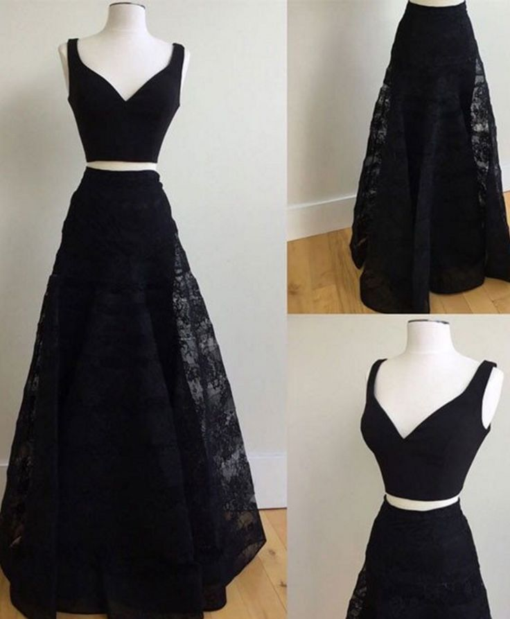 Cheap prom dresses ,Two Pieces Long Black Lace