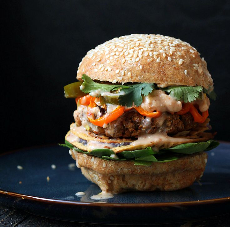 Red Lentil Cauliflower Burger with Chipotle Habanero Mayo