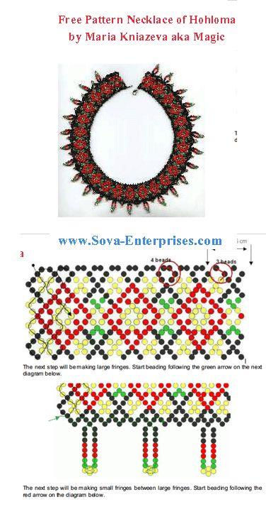 "FREE PATTERN - Necklace ""Hohloma"" at Sova-Enterprises.com"