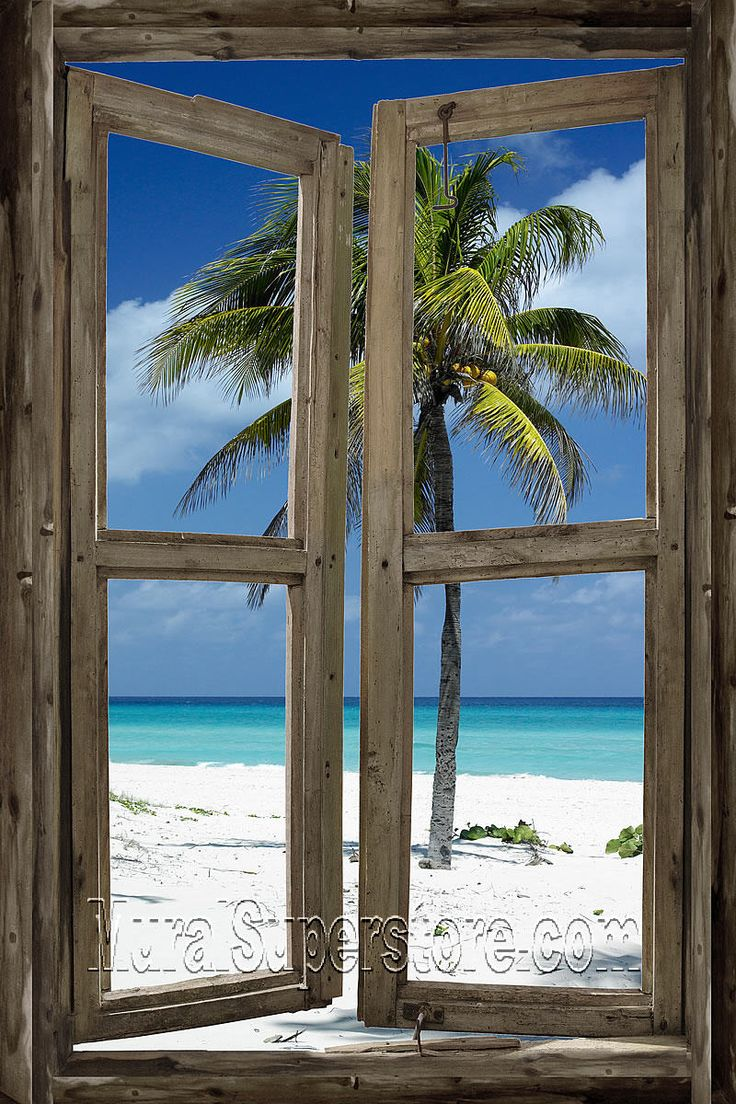 Open window beach - Beach Cabin Window Self Adhesive Wall Mural