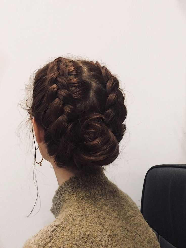 Simple double-dutch braid bun combo, for every day hairstyles