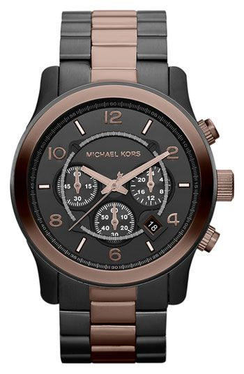 Michael Kors 'Large Runway' Two Tone Chronograph Watch