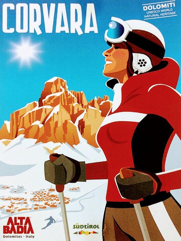 Postcard - Skiing in Corvara, Italian Dolomites