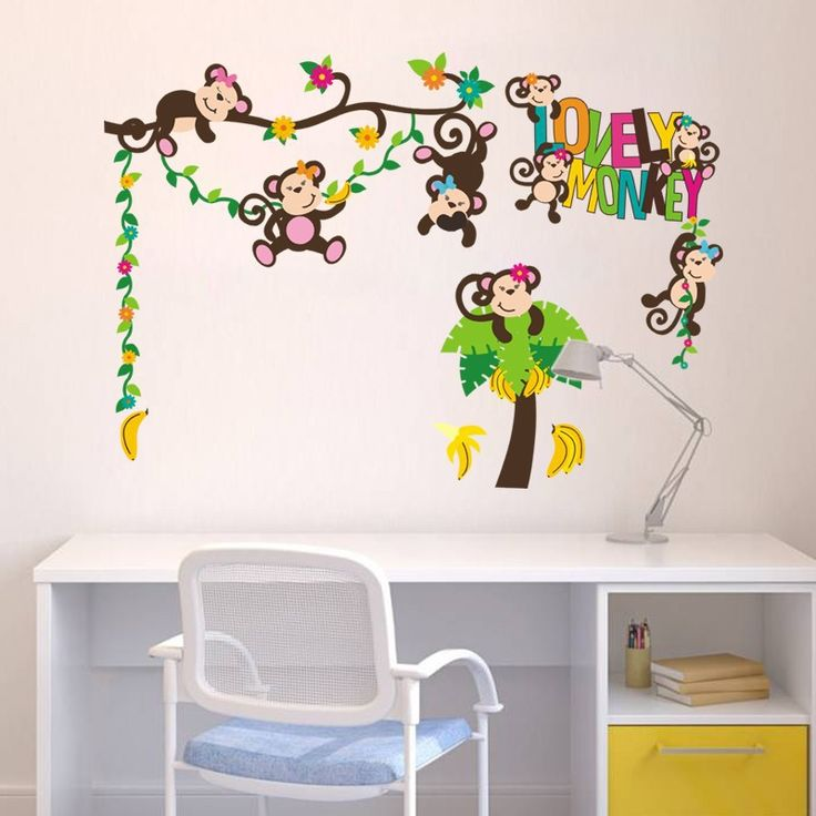 Aliexpress.com : Buy Lovely Monkey Wall Sticker For Baby Kids Bedroom  Living Room Removable Part 76