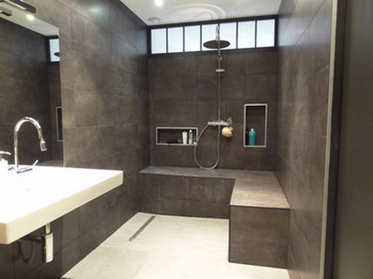 Zero Step Shower With Sleek Lines, Wrap Around Built In Seat, High Windows