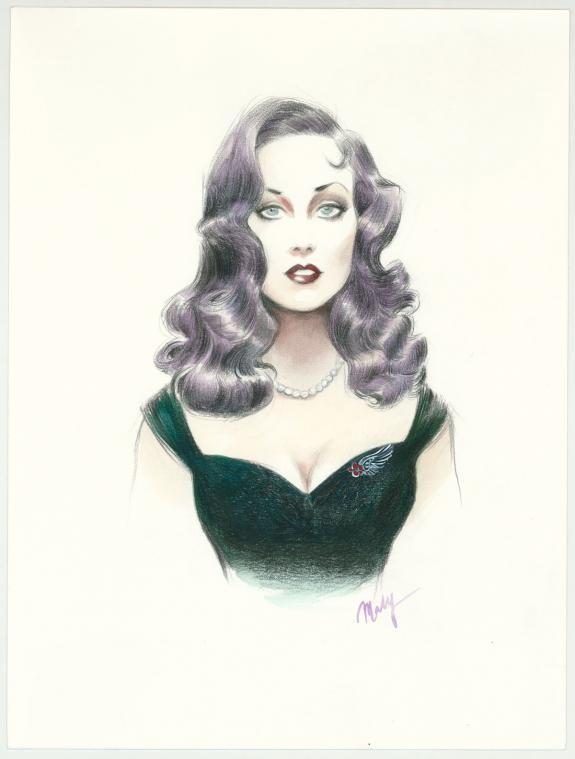 "Maly Siri - Pin-up Art Illustration originale intitulée ""Violet"""