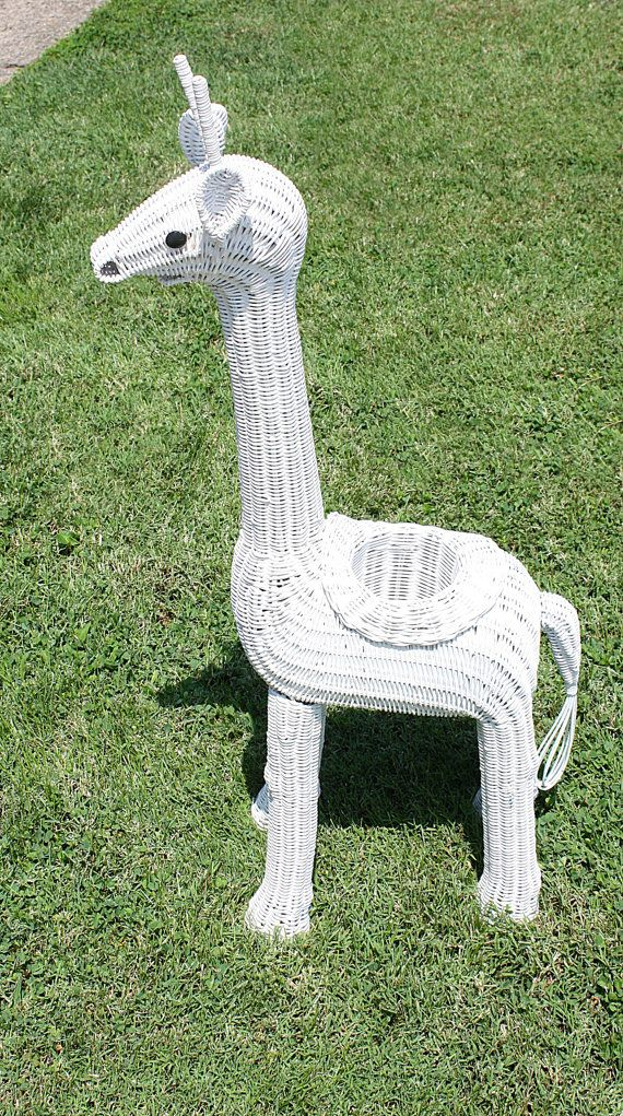 Vintage Sturdy White Wicker Planter Giraffe by QUEENIESECLECTIC, $38.00