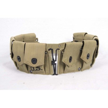 """Garand cartridge belt dismounted M-1923   M-1923 Cartridge Belt dismounted for M1 Garand 30 Cal, WWII Reproduction. Original stock No. 74-B-160.  The M1 Garand M-1923 Cartridge Belt is in Khaki, Olive drab #9. It could carry 10 M1 Rifle Clips or 20 Stripper Clips for the M-1903 and the M-1917 service rifles. This Garand Cartridge Belt is a WWII Reproduction.  Features 10 cartridge pockets with lift dot tabs, a metal hook and loop closure, and """"U.S."""" stamp. Expands to fit up to a 49"""" or 124…"""