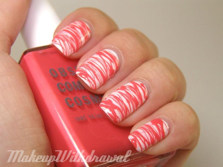 Des traits, des traits et des traits (sur MakeupWithdrawal): Nails Art, Spun Nails, Nails Design, Awesome Nails, Summer Nails, Candy Canes, Polish Manicures, Coral Nails, Cool Nails