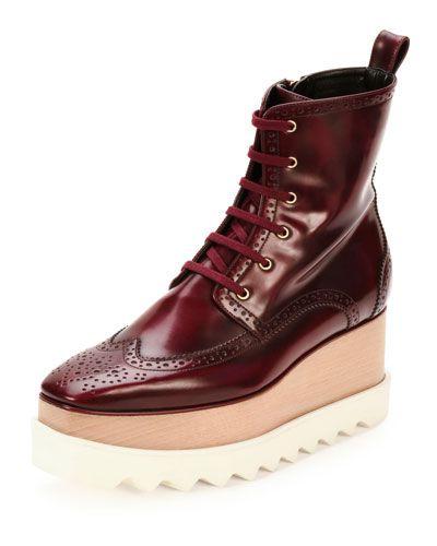 STELLA MCCARTNEY Elyse Brogue Faux-Leather Platform Boot, Cordovan. #stellamccartney #shoes #boots