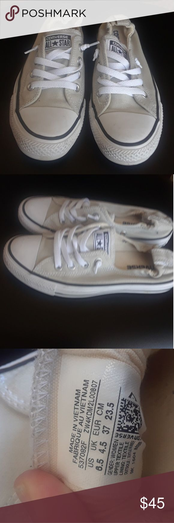 Converse  shoreline  sneaker size 6-5 nude nwt CRIPTION The Converse All Star Shoreline Slip shoe provides both comfort in a fashionable feminine fit. Breathable canvas upper with an elastic strap support underneath the tongue for a nice snug fit.A cushioned canvas liner and footbed offer all day   sz 6-5 brand new was display model so it has been tried on in the store sorry no box not taking any trades up to all offers Converse Shoes Sneakers
