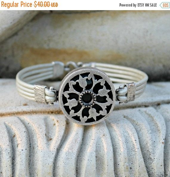 SALE 15% all Items Bohemian Leather Bracelet Silver by LunarBelle