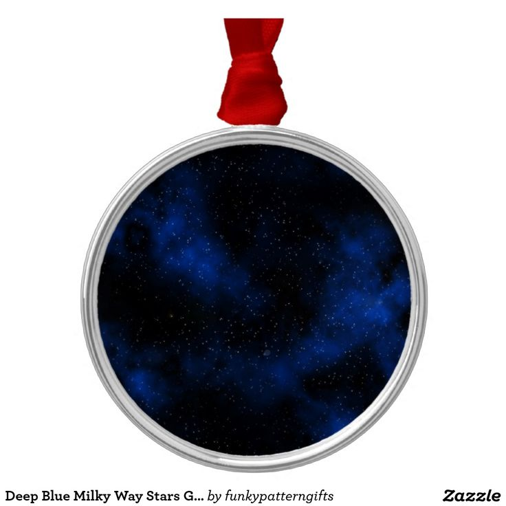 Deep Blue Milky Way Stars Galaxy Solar System Silver-Colored Round Decoration