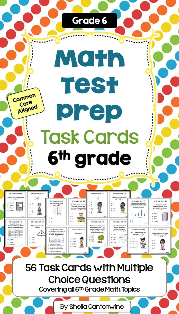 These 6th Grade Math Test Prep Task Cards have 56 multiple choice questions covering all the 6th grade math topics.  These would be great review for your end of year or end of grade test in 6th grade math plus you could use them all year long.  Common core alignment is included. An answer key and student answer recording sheet is also included for easy grading.