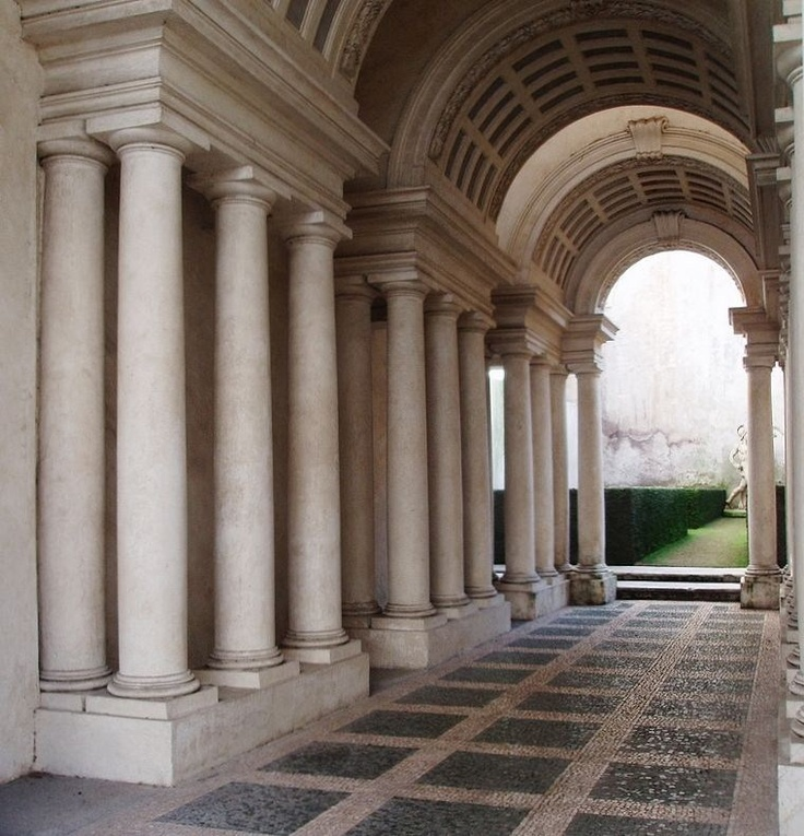 Borromini, Francesco (1599 - 1667) - Palazzo Spada, Rome (1660). Forced perspective optical illusion in the arcaded courtyard, in which diminishing rows of columns and a rising floor create the visual illusion of a gallery 37 meters long (it is 8 meters) with a life-size sculpture at the end of the vista, in daylight beyond: the sculpture is 60 cm high, the hedges made of stone.