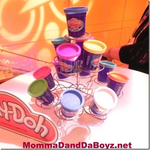 Use cupcake holder to display Play-Doh on tables