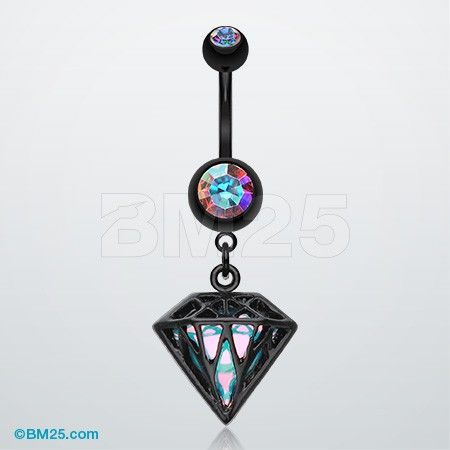 Colorline Urban Iridescent Diamond Belly Button Ring