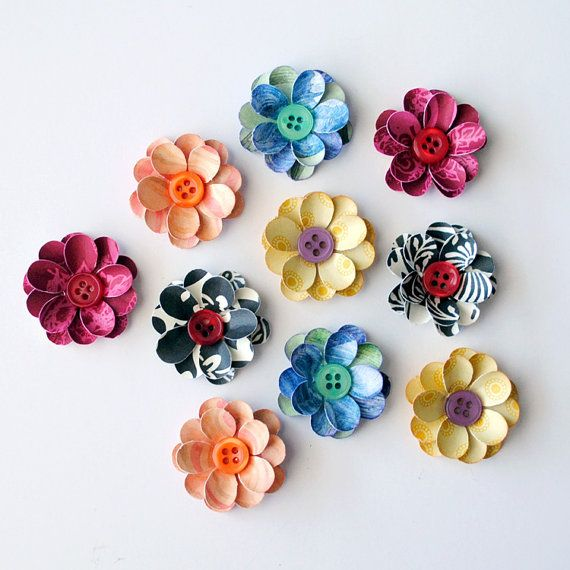HANDMADE Layered FLOWERS with BUTTON Centers  by photomamaregina, $3.75