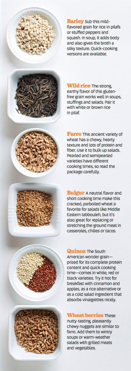 You can find grains such as barley, wild rice, farro, bulgur, quinoa and wheat berries at large supermarkets. Here's a guide for how to use these grains as well as recipes for salads, soups and main dishes that use grains.