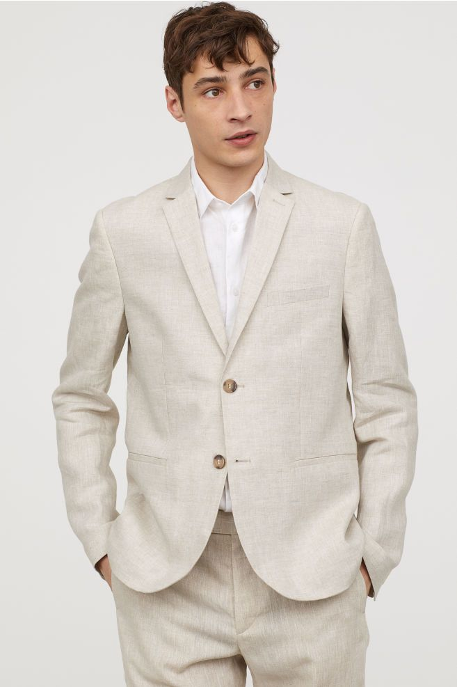 836e72ba537 H M Slim Fit Linen Blazer - White in 2019