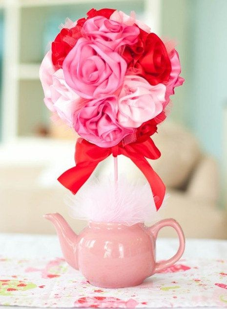 Ribbon rose topiary centerpiece diy table centerpieces
