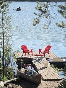 Large Rental Log Home on Lake W/ Dock Next to Rocky Mtn. Natl Park... LOVE the view!!!