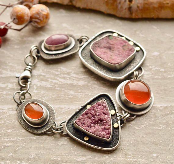 oxidized sterling silver and  carnelian Bracelet