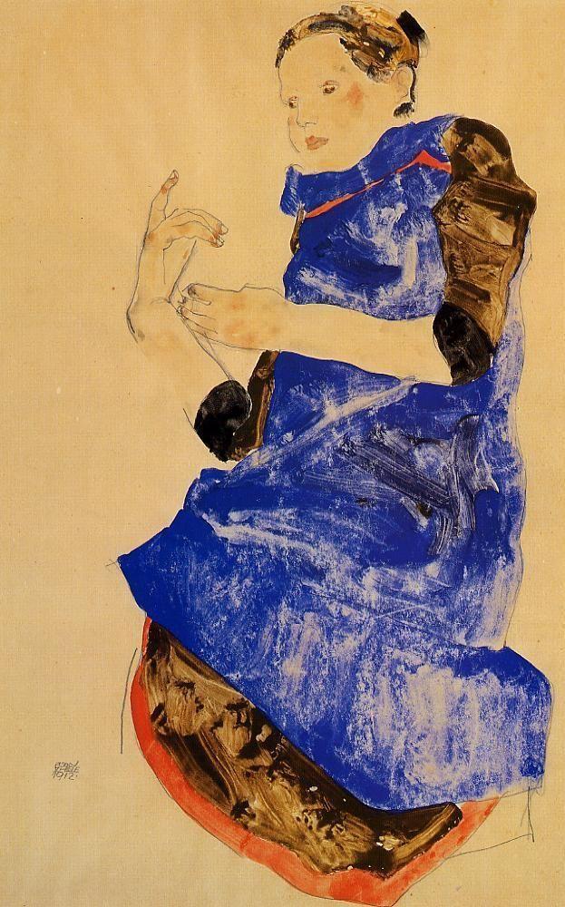 Girl in a Blue Apron - Egon Schiele