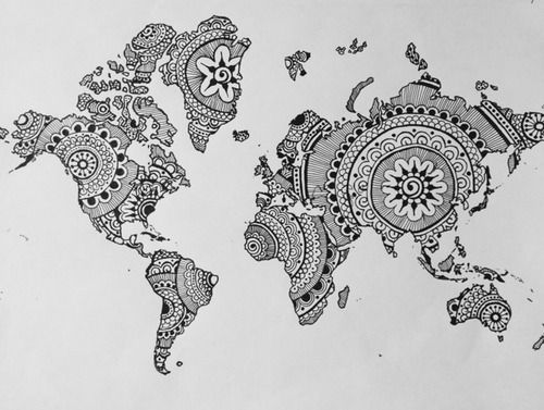 World Map... with mehndi designs! totally stealing this idea (for personal use as decor). (photo only)