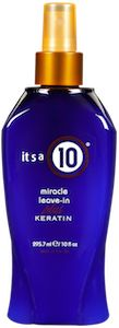 It's A 10 Miracle Leave-In Plus Keratin It's a 10 Miracle Leave-In Plus Keratin is an excellent nourishing treatment that can be used alone and/or as a restorative styling product to maintain keratin straightening treatments. It can be used on wet hair for extra shine or dry hair in place of a styling cream. Protects the natural keratin in hair, protects against heat, detangles, defrizzes and adds shine.