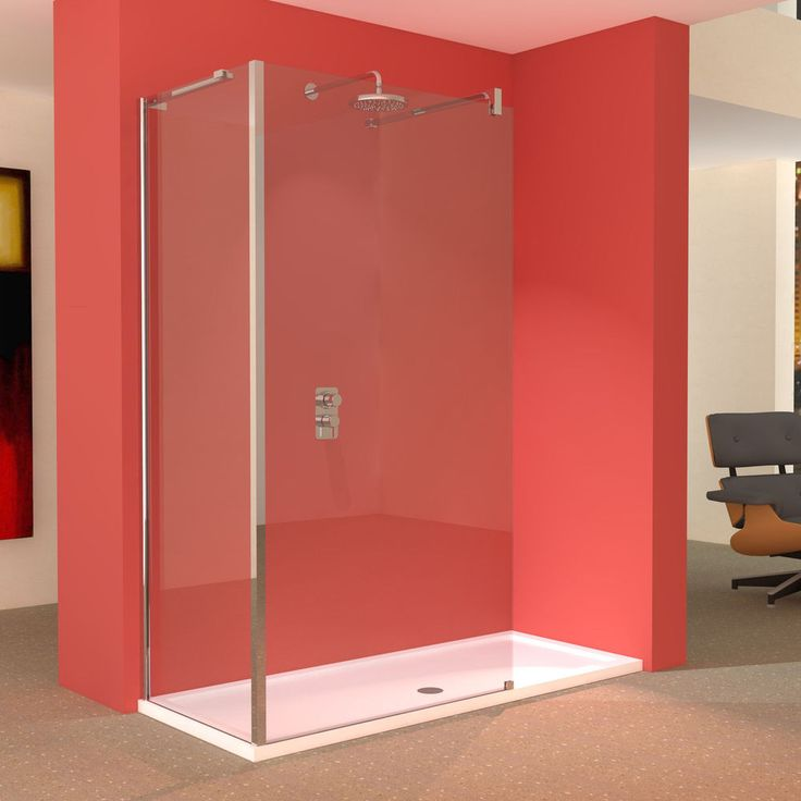 Line L-Shaped Walk-in Shower Screens with 1700 x 700mm Tray