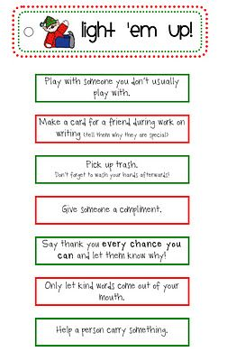 Each day, a different child chooses one of these for the entire class to work on.  Encourages and teaches kindness!